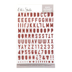 Burgundy Puffy Alphabet Stickers