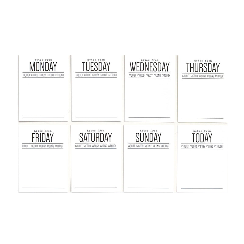 Days of the Week 3 x 4 inch Journaling Tags