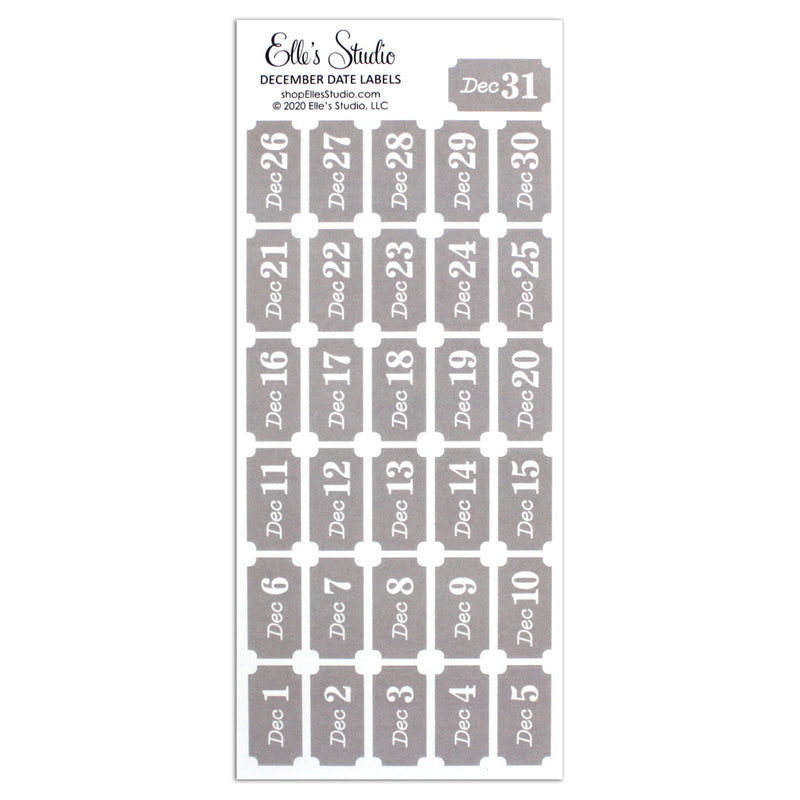 December Date Label Stickers - Gray