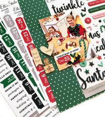 December Date Label Stickers - Green