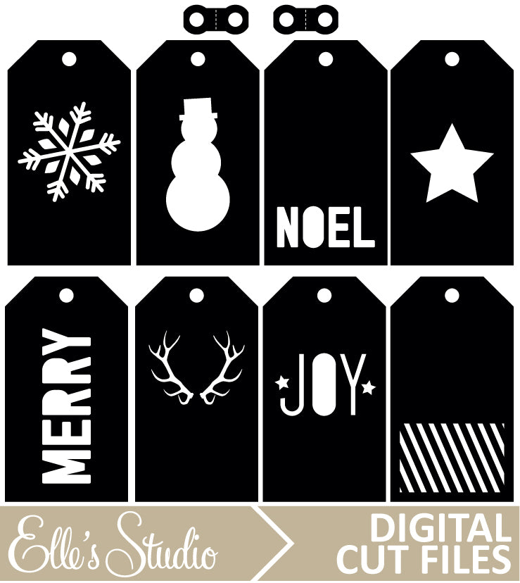 Holiday Tags Digital Cut File&&Holiday Tags Digital Cut File
