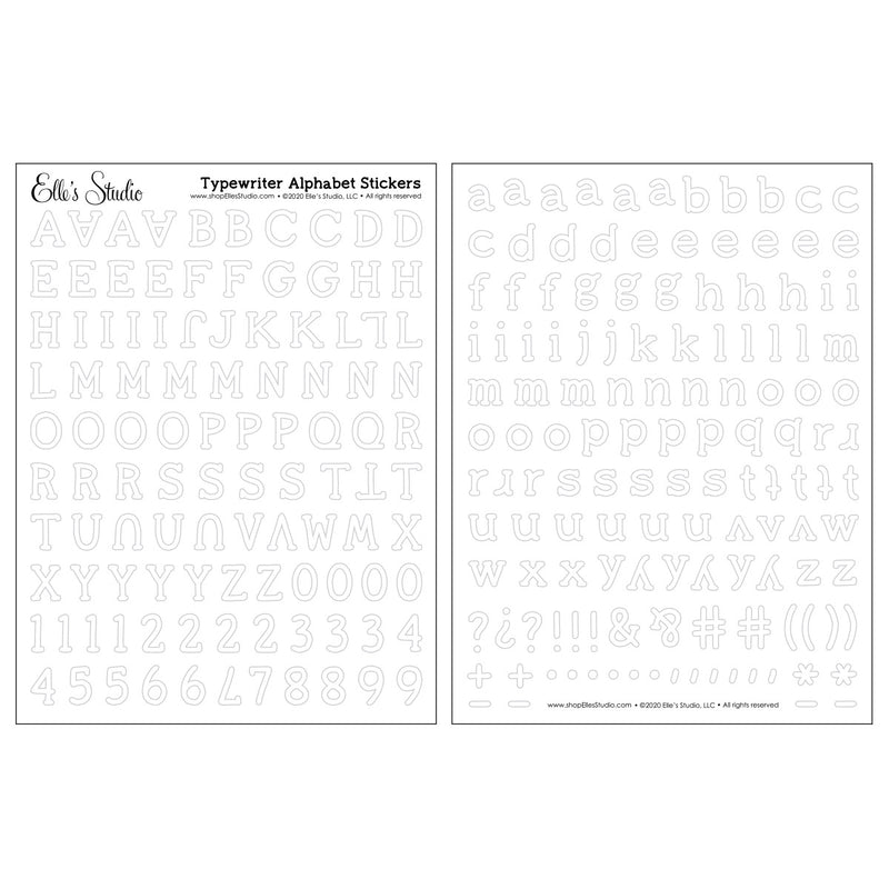 White Typewriter Cardstock Alphabet Stickers