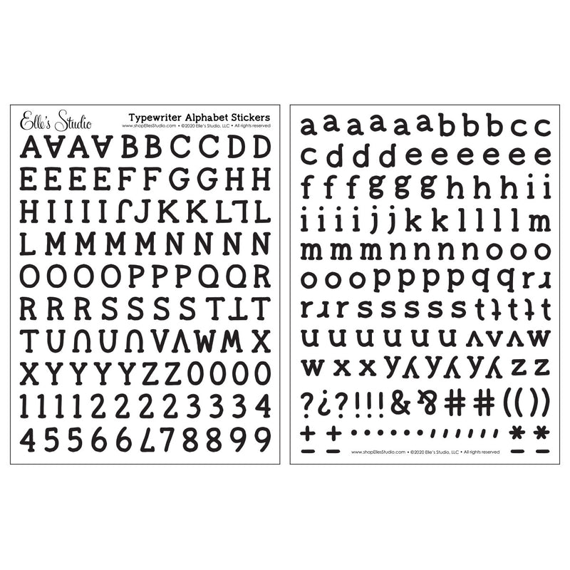 Black Typewriter Cardstock Alphabet Stickers