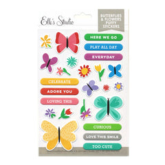 Butterflies and Flowers Puffy Stickers