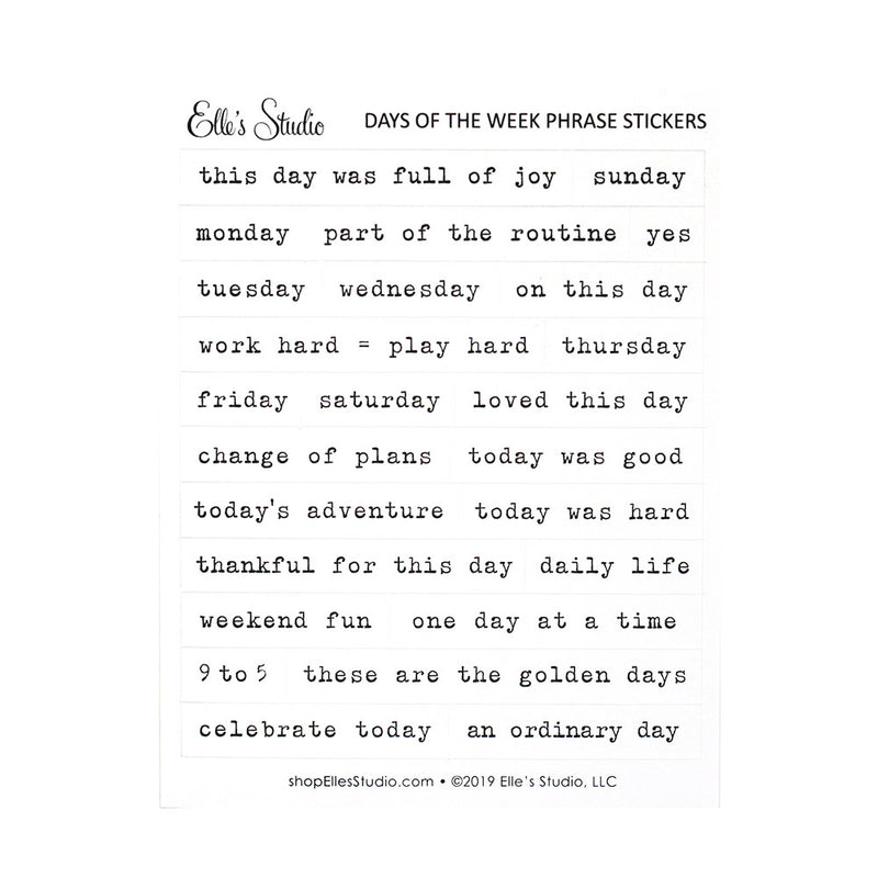 Days of the Week Phrase Stickers
