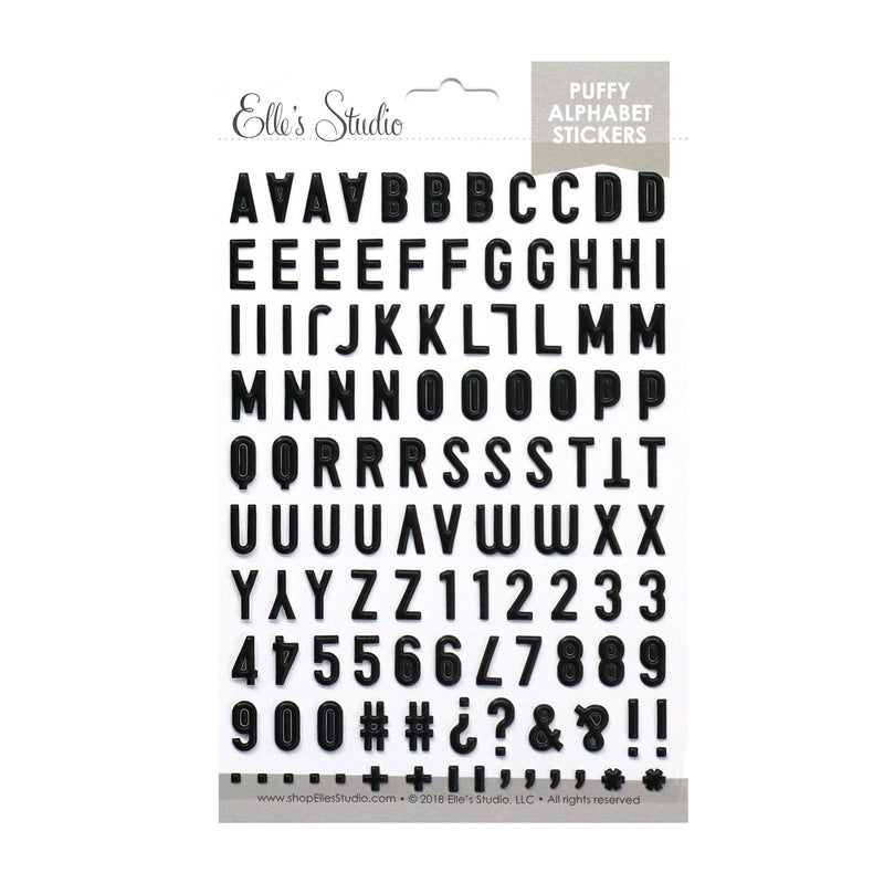 Black Puffy Alphabet Stickers