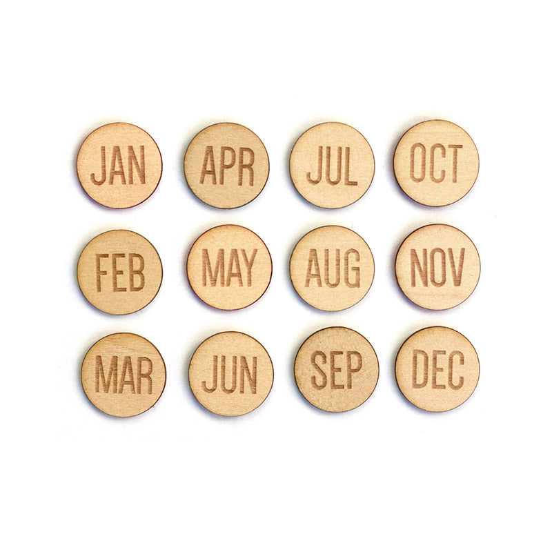 Round Months of the Year wood veneers