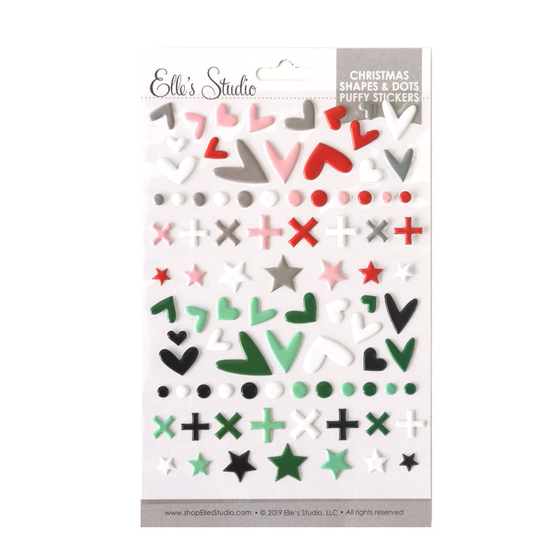 Christmas Shapes and Dots Puffy Stickers