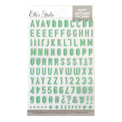 Mint Green Polka Dot Puffy Alphabet Stickers