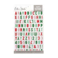 Christmas Multi Color Puffy Alphabet Stickers