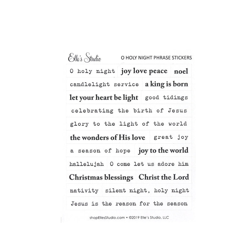 O Holy Night Phrase Stickers