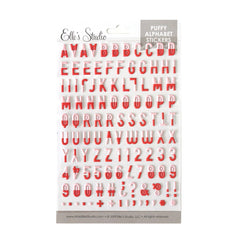 Red Dipped Puffy Alphabet Stickers