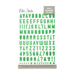 Green Puffy Alphabet Stickers