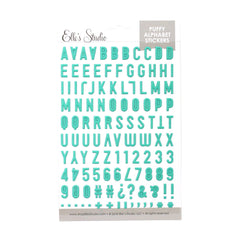 Teal Puffy Alphabet Stickers