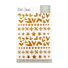 Gold Shapes and Dots Puffy Stickers