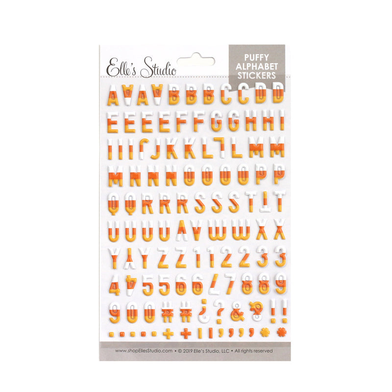 Candy Corn Puffy Alphabet Stickers