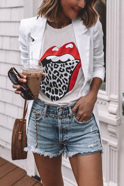 Floraness Lip Printed Leopard T-shirt (2 Colors)