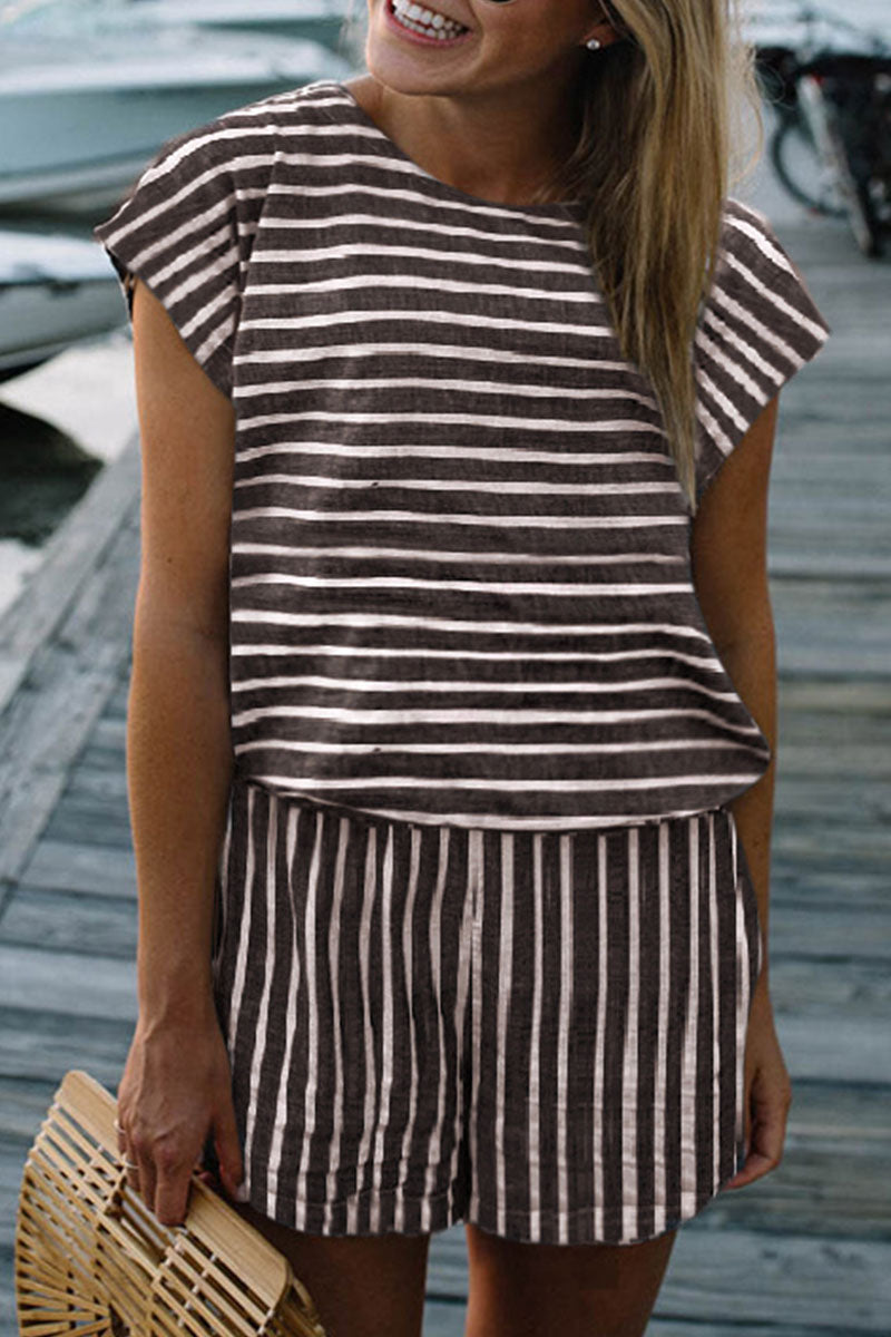 Floraness Striped Casual Short Sleeve Rompers (3 Colors)