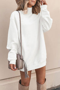 Floraness Turtleneck Basic Long Sleeve White Mini Dress