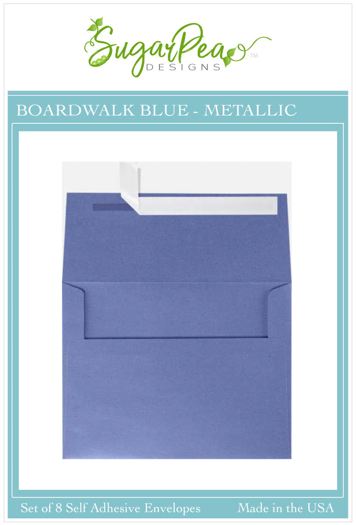 Boardwalk Blue Metallic Envelopes
