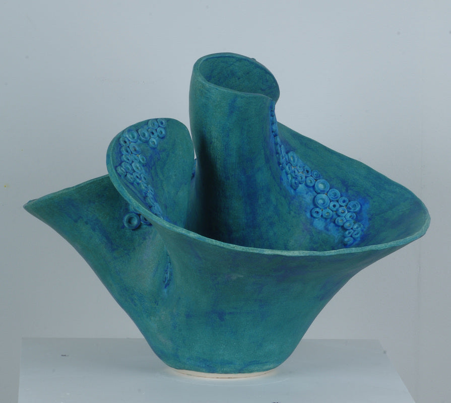 Dry blue organic coral vase