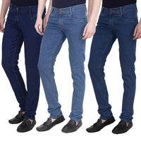 Multicoloured Cotton Spandex Combo of three Denims
