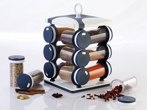 12 Jar Dark Blue Spice Rack, Masala Box, Spice Box, Masala Rack