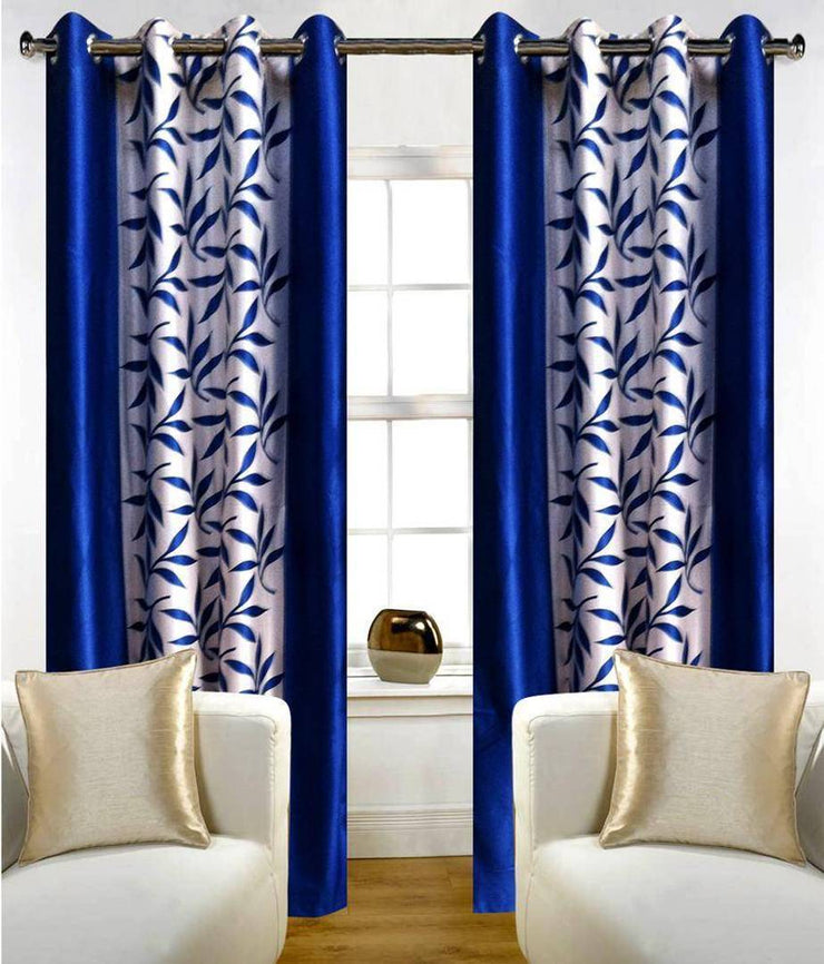 Blue Printed Set of 2 Door Curtains ;7feet