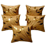 Golden Leaf Beige Cushion Covers Pack Of 5