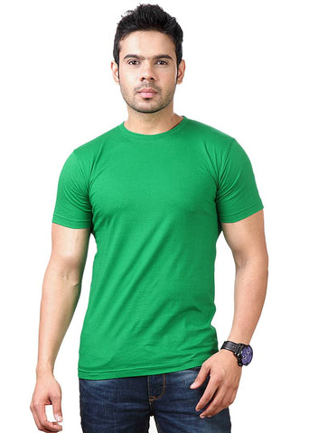 Men Green Polyester Blend Half Sleeves Round Neck Tees
