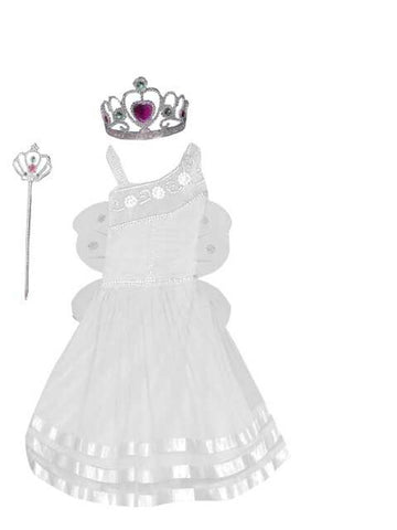Pari Frock for Girls with crown white