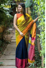 Attractive Handloom Cotton Silk Saree with Blouse piece