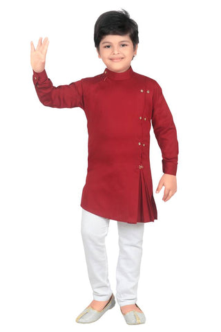 Elegant Maroon Cotton Blend Kurta Pyjama Set