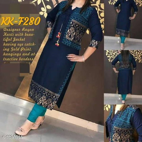 Navy Blue kurti With Printed Jacket