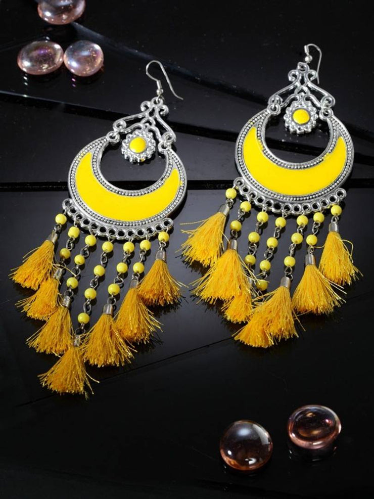 Earrings New Designer Oxidised Meena Chandbali