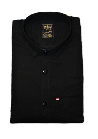 Men's Black Solid Cotton Blend Full Sleeve Casual Shirt