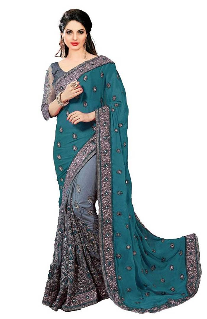 Saree Chiffon Embroidered with Blouse piece