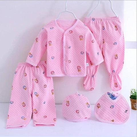 BABY SET NEWBORN COTTON UNDERWEAR SETS NEWBORNS INFANT CARTOON BEAR SUIT BABY CLOTHING 5 PCS/SET