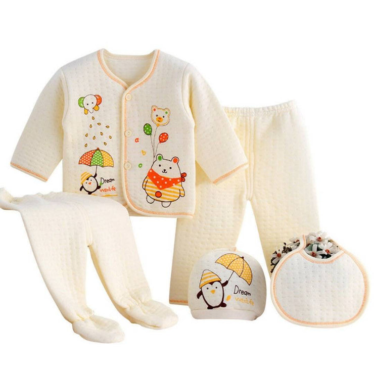 Newborn Baby Boys Girls ( 5pcs/set) Infant Underwear Set Unisex Clothing Suit (Random Suit)