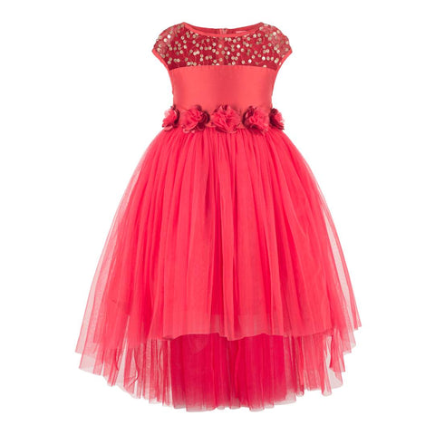 Cute Princess Red Polyester Embellished Girl's Dress