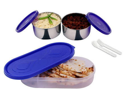 3 in 1 Purple Container-2 Steel container (200 ML Each) 1 chapati tray 250 ML