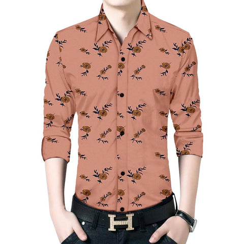 Men's Brown Cotton Long Sleeves Printed Slim Fit Casual Shirt