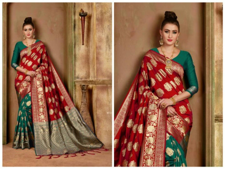 Beautiful Banarasi Weaving Soft Silk Saree with Blouse Piece