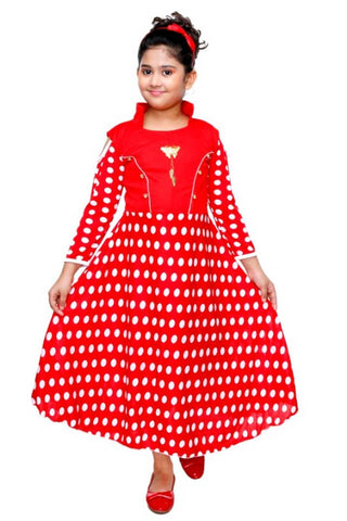 Girls Party Wear Frock Dress RNR FASHION  Dotted Printed