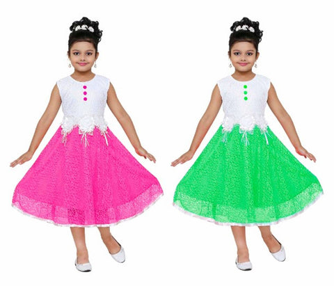 RNR FASHION Girls Pink and Green Colored Net Made Midi/Knee Length Sleeveless Frock Combo(Pack of 2)(RNR1003)