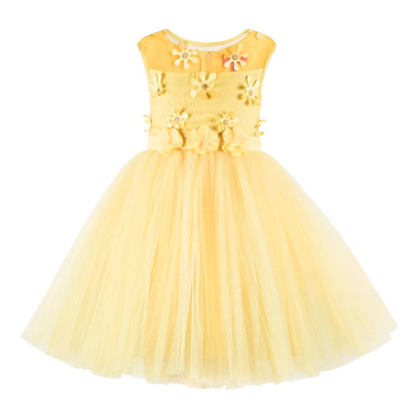 Kids flower applique yellow  Girls party wear dress