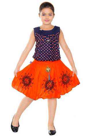 Girls Orange Casual Top Skirt