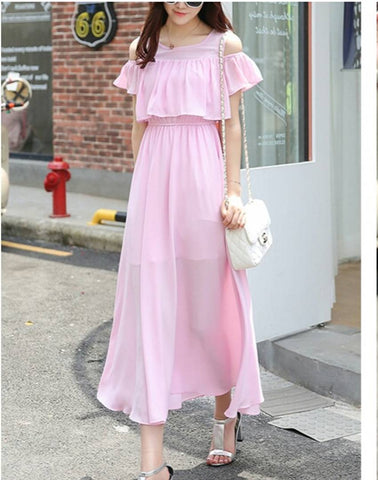 Pink Cold Shoulder Long Maxi Dress