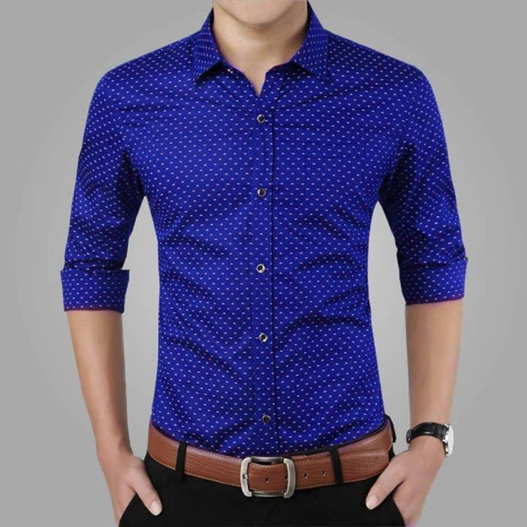 Blue Printed Cotton Slim Fit Men's Casual Shirt