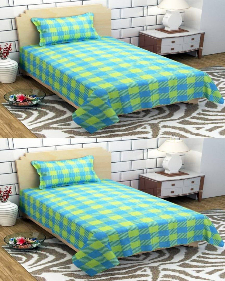 Cotton Single Bedsheet Combo Fabric: Cotton Type: Single Set Content: 2 Bedsheet + 4 Pillow Covers